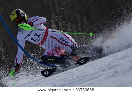 GARMISCH PARTENKIRCHEN, GERMANY. Feb 19 2011: Nicole Hosp (AUT) competing in the women's slalom race , at the 2011 Alpine skiing World Championships
