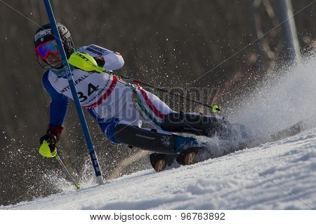 GARMISCH PARTENKIRCHEN, GERMANY. Feb 19 2011: Irene Curtoni (ITA) competing in the women's slalom race , at the 2011 Alpine skiing World Championships