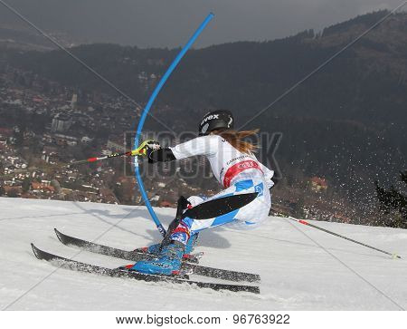 GARMISCH PARTENKIRCHEN, GERMANY. Feb 19 2011: Rebecca Buehler (LIE) competing in the women's slalom race , at the 2011 Alpine skiing World Championships