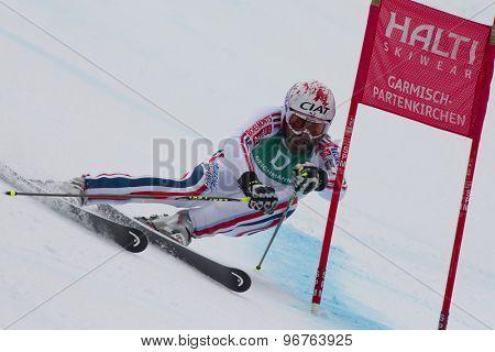 GARMISCH PARTENKIRCHEN, GERMANY. Feb 18 2011: Kjetil Jansrud (NOR) competing in the mens giant slalom race on the Kandahar race piste at the 2011 Alpine skiing World Championships