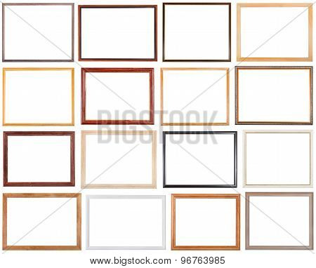 Set Of 16 Pcs Narrow Wooden Picture Frames