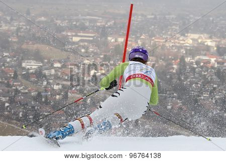 GARMISCH PARTENKIRCHEN, GERMANY. Feb 19 2011: Maria Riesch (GER) competing in the women's slalom race , at the 2011 Alpine skiing World Championships