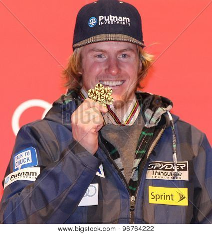 GARMISCH PARTENKIRCHEN, GERMANY. Feb 18 2011: New giant slalom world champion Ted Ligety (USA) at the medal award ceremony for the mens giant slalom race  at the 2011 Alpine skiing World Championships