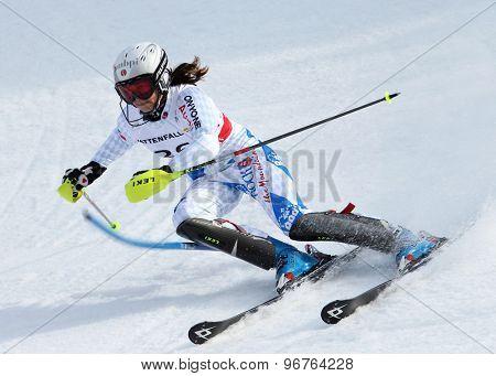 GARMISCH PARTENKIRCHEN, GERMANY. Feb 19 2011: Marina Nigg (LIE) competing in the women's slalom race , at the 2011 Alpine skiing World Championships