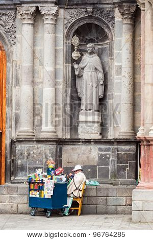 Vendor And Church Facade