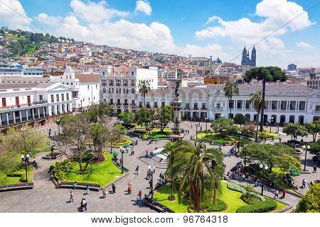 Plaza Grande In Ecuador