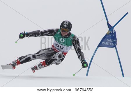 GARMISCH PARTENKIRCHEN, GERMANY. Feb 18 2011: Tim Cafe (NZE) competing in the mens giant slalom race on the Kandahar race piste at the 2011 Alpine skiing World Championships