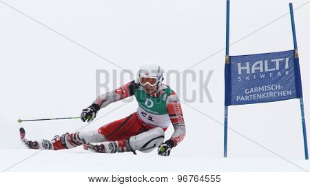 GARMISCH PARTENKIRCHEN, GERMANY. Feb 18 2011: Maciej Bydlinski (POL) competing in the mens giant slalom race on the Kandahar race piste at the 2011 Alpine skiing World Championships