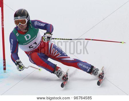 GARMISCH PARTENKIRCHEN, GERMANY. Feb 18 2011: TJ Baldwin (GBR) competing in the mens giant slalom race on the Kandahar race piste at the 2011 Alpine skiing World Championships