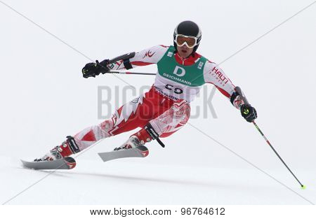 GARMISCH PARTENKIRCHEN, GERMANY. Feb 18 2011: Georgi Georgiev (BUL) competing in the mens giant slalom race on the Kandahar race piste at the 2011 Alpine skiing World Championships