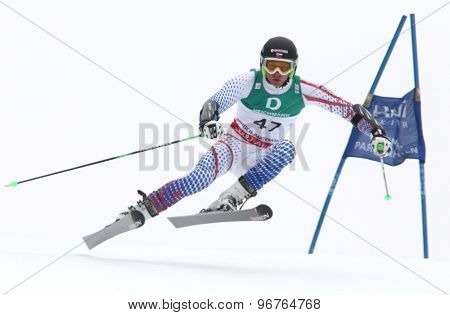 GARMISCH PARTENKIRCHEN, GERMANY. Feb 18 2011: Adam Zampa (SVK) competing in the mens giant slalom race on the Kandahar race piste at the 2011 Alpine skiing World Championships