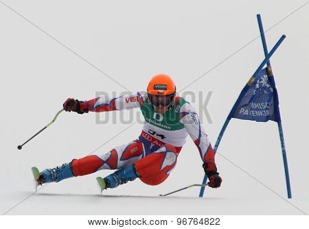GARMISCH PARTENKIRCHEN, GERMANY. Feb 18 2011: Krystof Kryzl (CZE) competing in the mens giant slalom race on the Kandahar race piste at the 2011 Alpine skiing World Championships