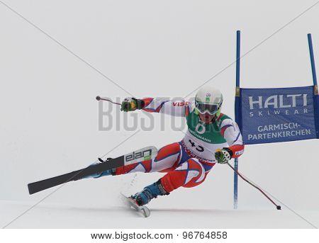 GARMISCH PARTENKIRCHEN, GERMANY. Feb 18 2011: Adam Zika (CZE) competing in the mens giant slalom race on the Kandahar race piste at the 2011 Alpine skiing World Championships
