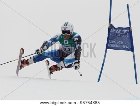 GARMISCH PARTENKIRCHEN, GERMANY. Feb 18 2011: Ferran Terra (SPA) competing in the mens giant slalom race on the Kandahar race piste at the 2011 Alpine skiing World Championships