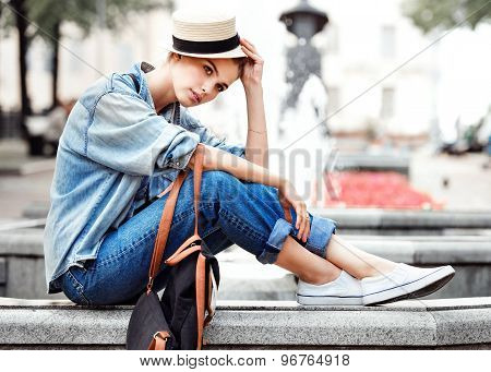 hipster woman in park fashion city style