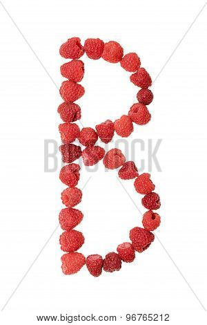 Letter B made from raspberry