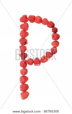 Letter P made from raspberry