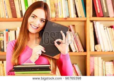 Content Girl Student In College Library