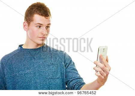 Man Texting On The Mobile Phone Or Reading Sms