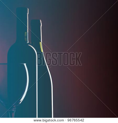Bottle and glass of red wine on dark red background. Filtered image: vintage effect.