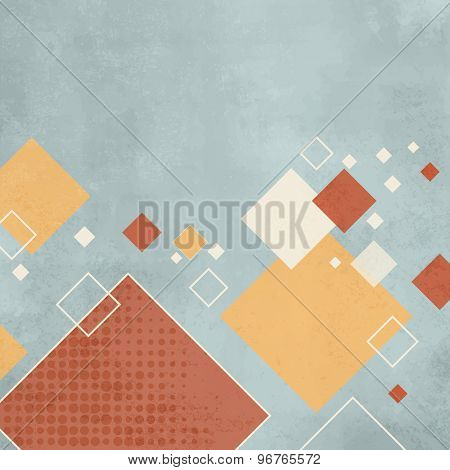Abstract retro background with brown, tan, cream squares on distressed light blue. Space for text.