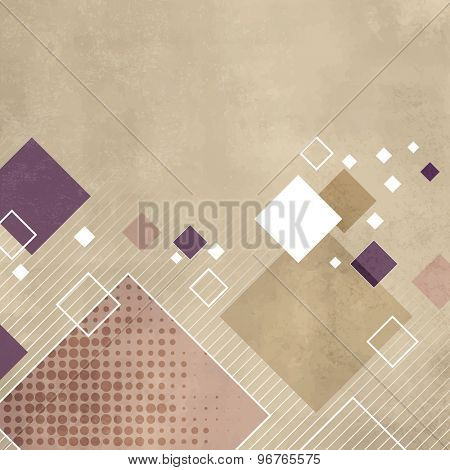 Square background in light beige color with soft retro texture