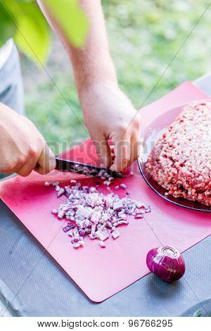chef making meatballs