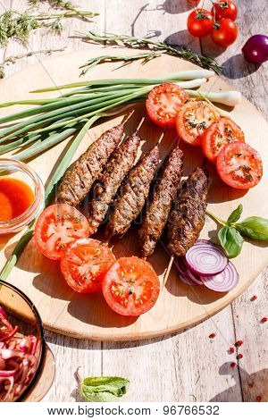 grilled kebabs with vegetables