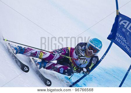 GARMISCH PARTENKIRCHEN, GERMANY. Feb 17 2011: Julia Mancuso (USA) competing in the women's giant slalom  race  at the 2011 Alpine skiing World Championships