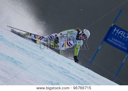 GARMISCH PARTENKIRCHEN, GERMANY. Feb 17 2011: DUERR Lena (GER) competing in the women's giant slalom  race  at the 2011 Alpine skiing World Championships
