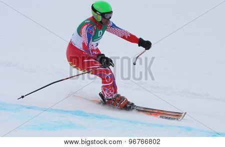 GARMISCH PARTENKIRCHEN, GERMANY. Feb 17 2011: ROY Jean-Pierre (HAI) competing in the mens giant slalom qualification race on the Hausberg piste at the 2011 Alpine skiing World Championships