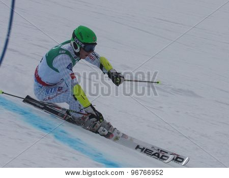 GARMISCH PARTENKIRCHEN, GERMANY. Feb 17 2011: OEHRI Josef (LIE) competing in the mens giant slalom qualification race on the Hausberg piste at the 2011 Alpine skiing World Championships