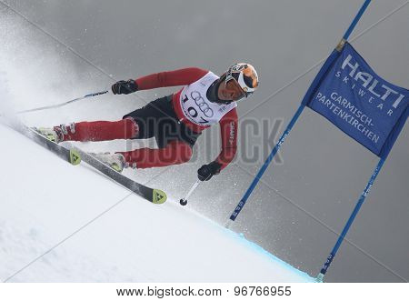GARMISCH PARTENKIRCHEN, GERMANY. Feb 17 2011: KALHOR Ziba (IRA) competing in the women's giant slalom  race  at the 2011 Alpine skiing World Championships