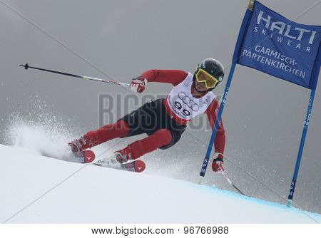 GARMISCH PARTENKIRCHEN, GERMANY. Feb 17 2011: KALHOR Marjan (IRA) competing in the women's giant slalom  race  at the 2011 Alpine skiing World Championships