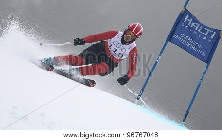 GARMISCH PARTENKIRCHEN, GERMANY. Feb 17 2011: KIADARBANDSARI Fatemeh (IRA) competing in the women's giant slalom  race  at the 2011 Alpine skiing World Championships