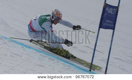 GARMISCH PARTENKIRCHEN, GERMANY. Feb 17 2011: PFIFFNER Marco (LIE) competing in the mens giant slalom qualification race on the Hausberg piste at the 2011 Alpine skiing World Championships