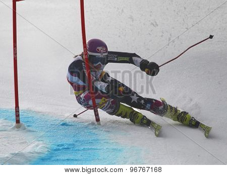 GARMISCH PARTENKIRCHEN, GERMANY. Feb 17 2011: MCJAMES Megan (USA) competing in the women's giant slalom  race  at the 2011 Alpine skiing World Championships