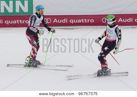 GARMISCH PARTENKIRCHEN, GERMANY. Feb 16 2011: Bode Miller and Ted Ligety from the USA competing in the team event a parallel slalom race  at the 2011 Alpine skiing World Championships