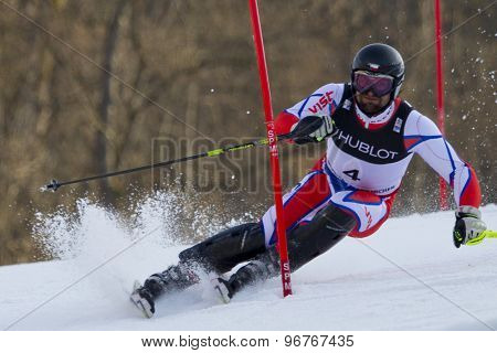 GARMISCH PARTENKIRCHEN, GERMANY. Feb 14 2011: Martin Vrablik (CZE) competing in the men's slalom at the 2011 Alpine skiing World Championships
