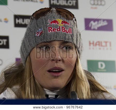 GARMISCH PARTENKIRCHEN, GERMANY. Feb 13 2011: Lindsey Vonn (USA) at her press conference after coming 2nd in the women's downhill race at the 2011 Alpine skiing World Championships
