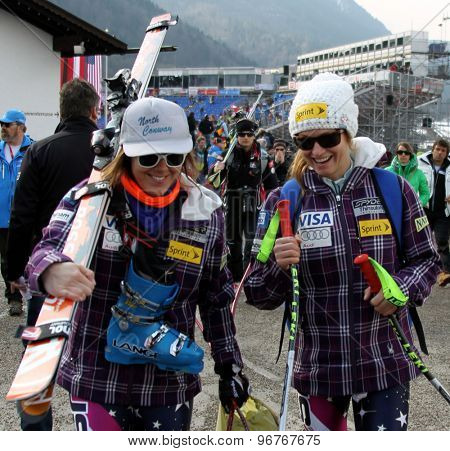GARMISCH PARTENKIRCHEN, GERMANY. Feb 13 2011: Leanne Smith (USA) (L) and Julia Mancuso (USA) at the women's downhill race at the 2011 Alpine skiing World Championships