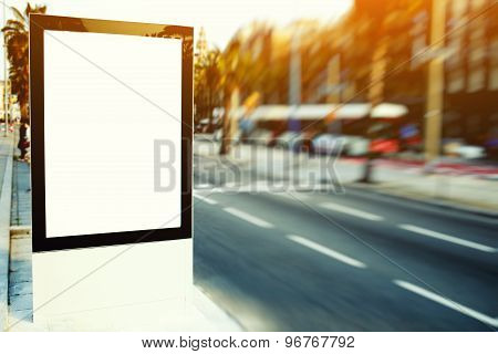 Blank billboard with copy space for your text message or content outdoors on city road