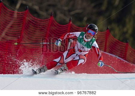 GARMISCH PARTENKIRCHEN, GERMANY. Feb 13 2011: Alexandra Coletti (MON) speeds down the course competing in the women's downhill race at the 2011 Alpine skiing World Championships