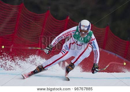 GARMISCH PARTENKIRCHEN, GERMANY. Feb 13 2011: Marion Rolland (FRA) speeds down the course competing in the women's downhill race at the 2011 Alpine skiing World Championships