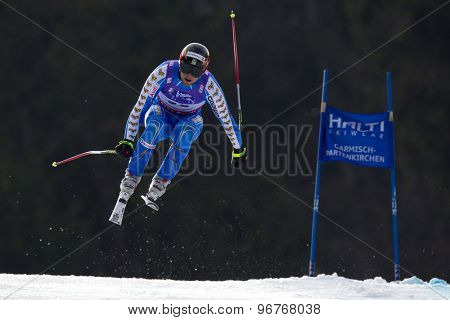 GARMISCH PARTENKIRCHEN, GERMANY. Feb 12 2011: Hans Olsson (SWE) takes to the air competing in the men's downhill at the 2011 Alpine skiing World Championships