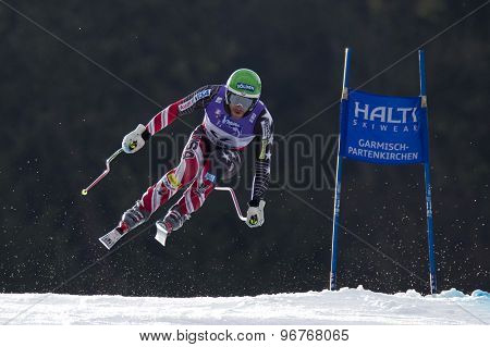 GARMISCH PARTENKIRCHEN, GERMANY. Feb 12 2011: Bode Miller (USA) takes to the air competing in the men's downhill at the 2011 Alpine skiing World Championships
