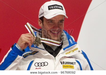 GARMISCH PARTENKIRCHEN, GERMANY. Feb 12 2011: Bronze medal winner Christof Innerhofer (ITA) at the medal ceremony for the men's downhill race at the 2011 Alpine skiing World Championships