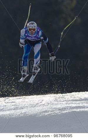 GARMISCH PARTENKIRCHEN, GERMANY. Feb 12 2011: Paul De-La-Cuesta (SPA) takes to the air competing in the men's downhill at the 2011 Alpine skiing World Championships