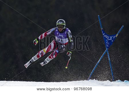 GARMISCH PARTENKIRCHEN, GERMANY. Feb 12 2011: Travis Ganong (USA) takes to the air competing in the men's downhill at the 2011 Alpine skiing World Championships