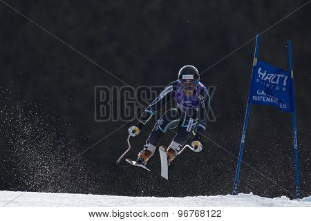 GARMISCH PARTENKIRCHEN, GERMANY. Feb 12 2011: Lars-Elton Myhre (NOR) takes to the air competing in the men's downhill at the 2011 Alpine skiing World Championships